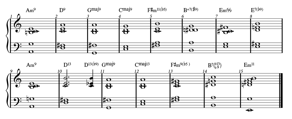 Autumn Leaves with two-handed voicings.