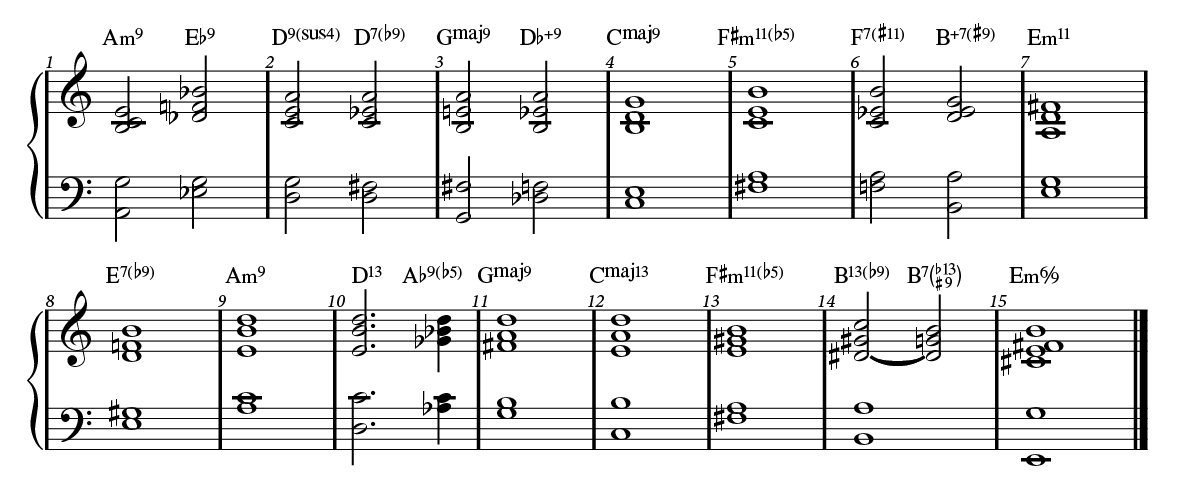 Autumn Leaves 2-handed voicings with substitutions.