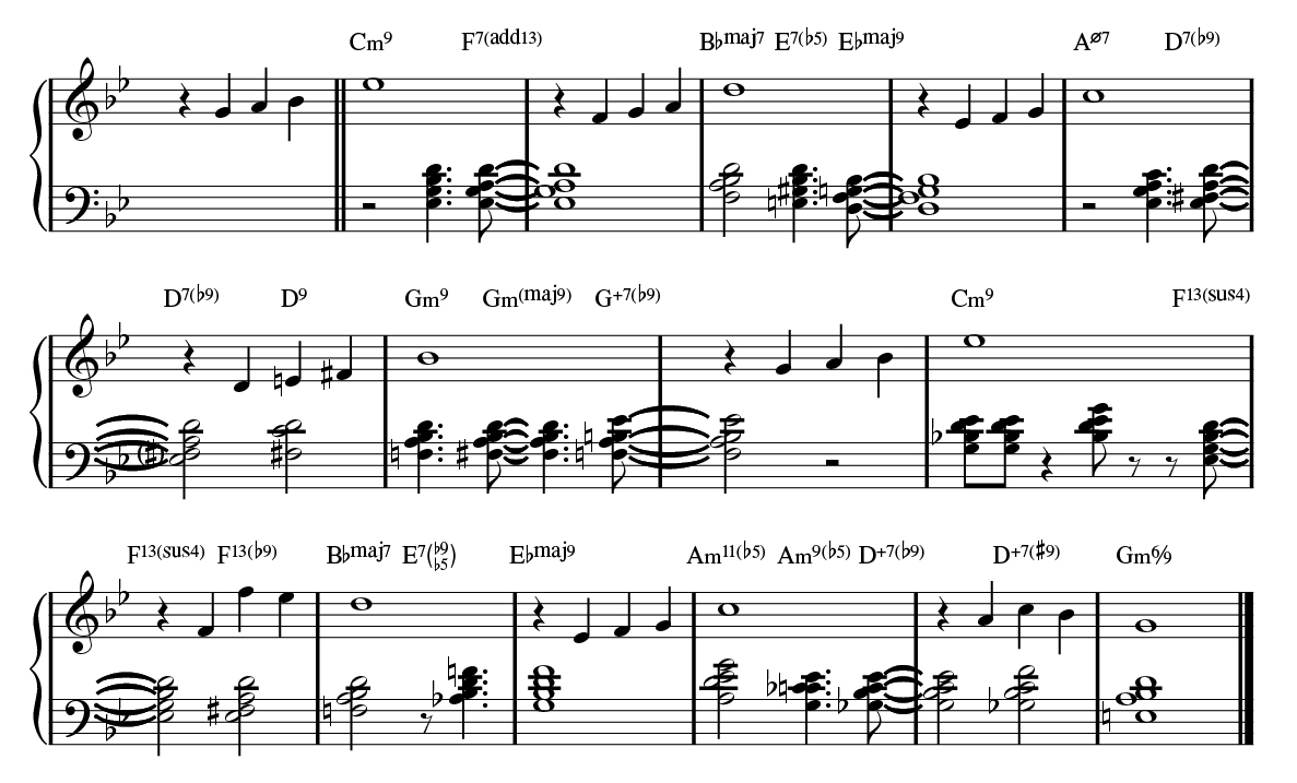 13_Autumn Leaves played with left-handed rootless melody plus bass walk.