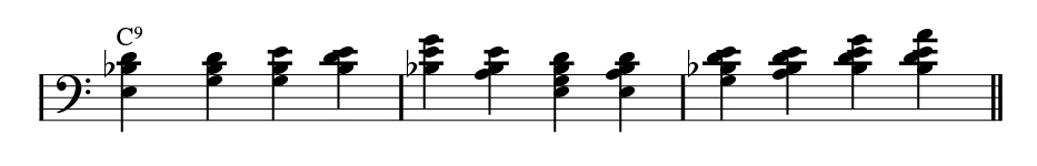 Left-handed rootless dominant bass.