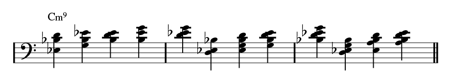 Left-handed rootless minor bass.