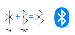 The runic letters for H and B which when imposed on each other become the Bluetooth logo.