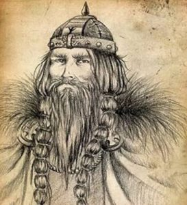 A drawing of a Scandinavian man in traditional dress for 10th century man.