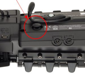 Closeup with lever circled.