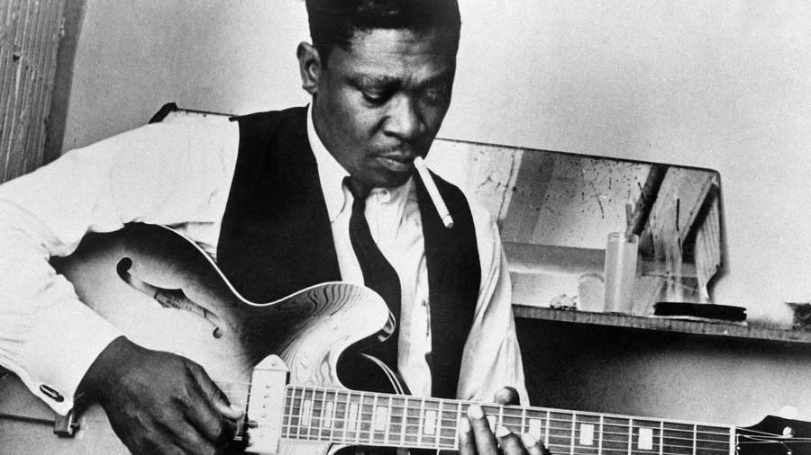 Black and white portrait of B.B. King.