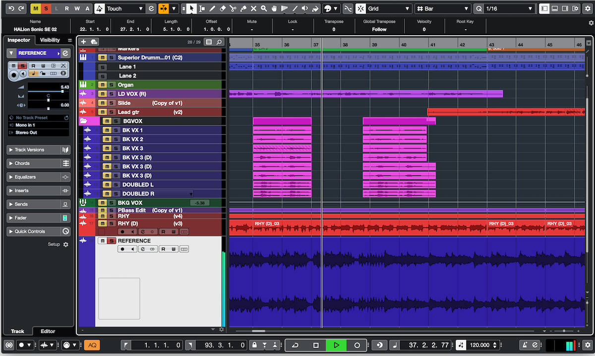 Screenshot of A/B referencing in Cubase.
