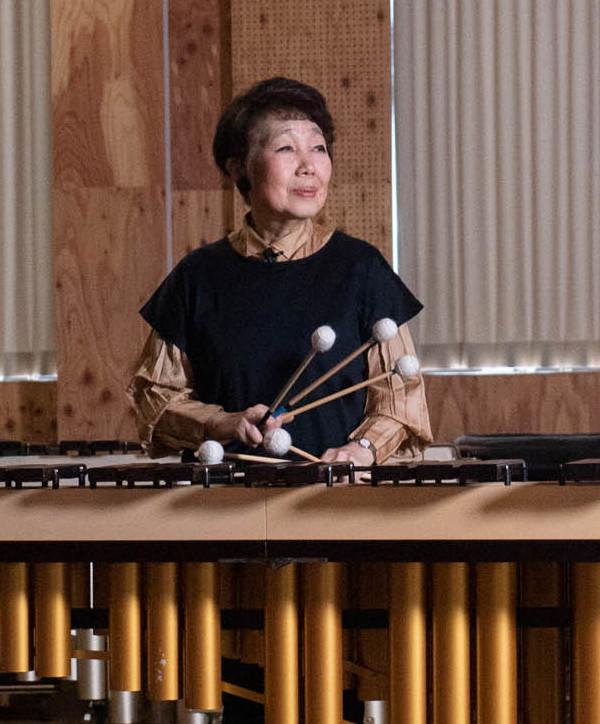 Keiko Abe playing the marimba in 2019.