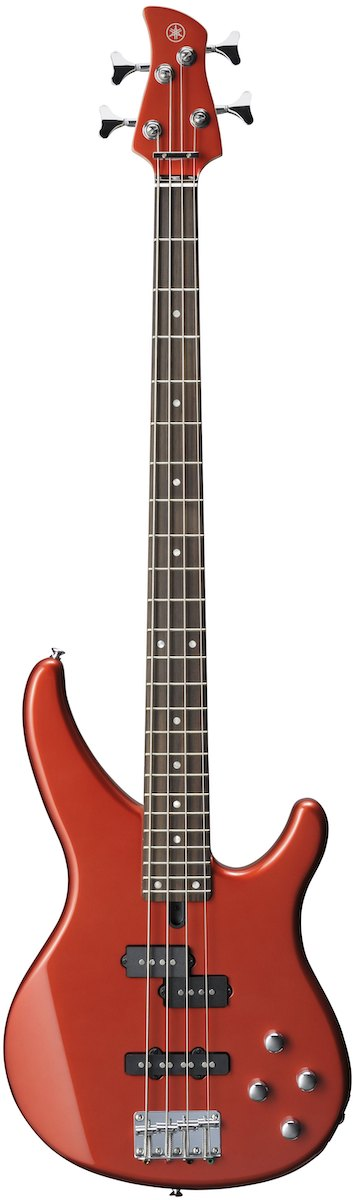 Yamaha TRBX204 bass with bright red finish and split coils.