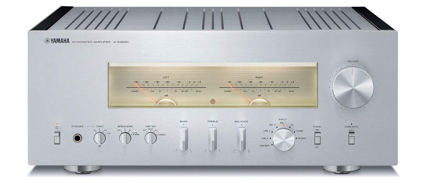 Front panel of silver color metal cased amplifier.