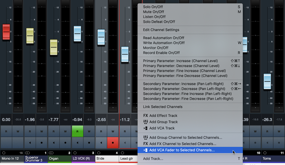 Screenshot showing dropdown list for a user creating a VCA Fader in Cubase.