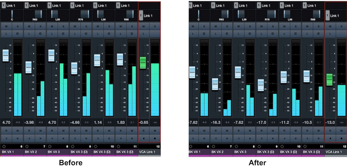 A before and after set of screenshots showing what happens when the VCA fader moves the faders of the tracks.