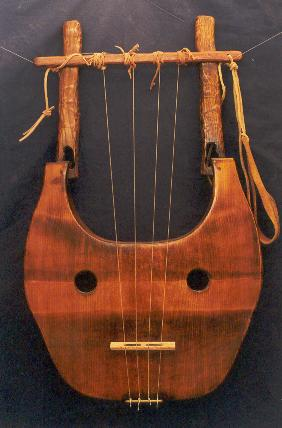 A stringed instrument made of wood.