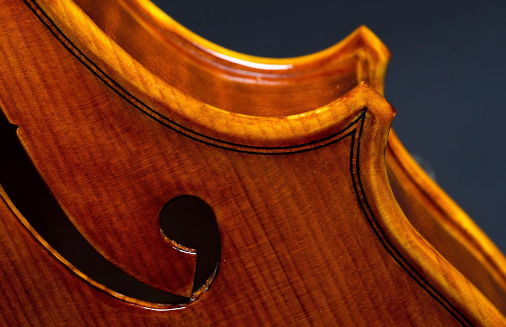 Close up of the joined edges of a violin.