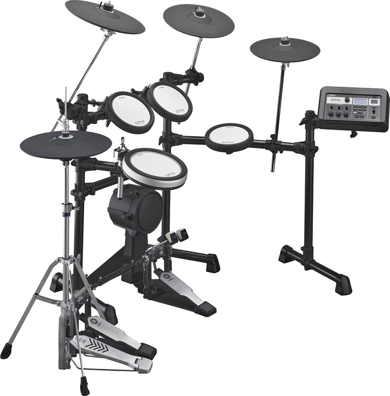 Electronic drum kit setup to show all elements, including electronic controls.