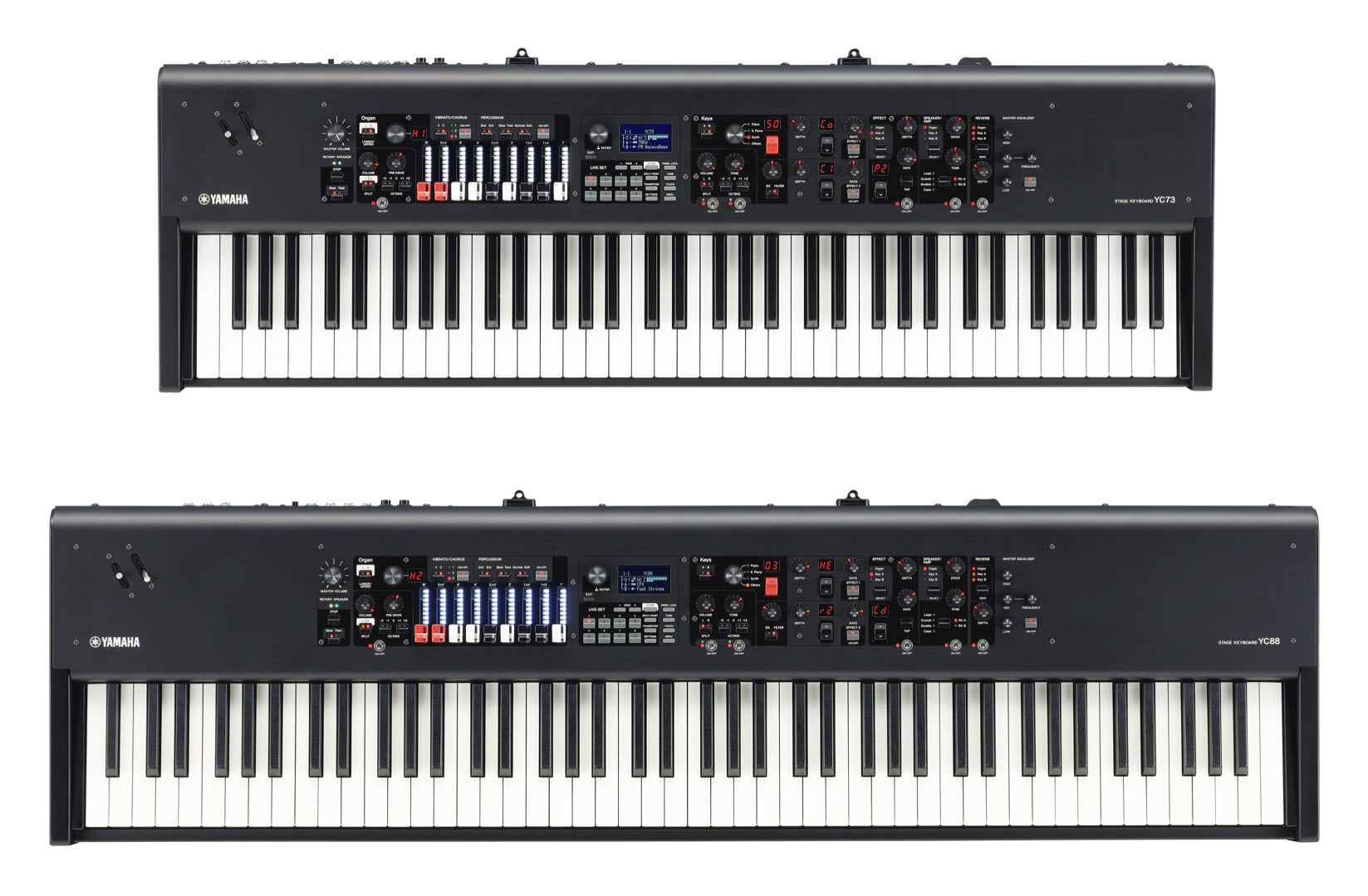 Two electronic piano keyboards lined up one behind the other. The short one on top of image is a smaller one and the bottom one is larger and has more keyes.