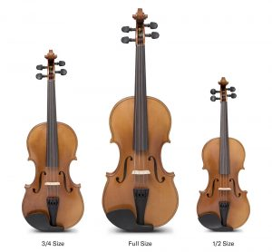 """Three sizes of violins. The largest one is center has sub-title of """"Full Size""""; the one on the right is the smallest and is sub-titled """"1/2 size"""" and the one on left is an in-between size of the other 2 and is sub-titled """"3/4 size""""."""