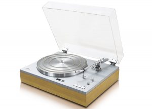 Turntable with clear hinged lid open