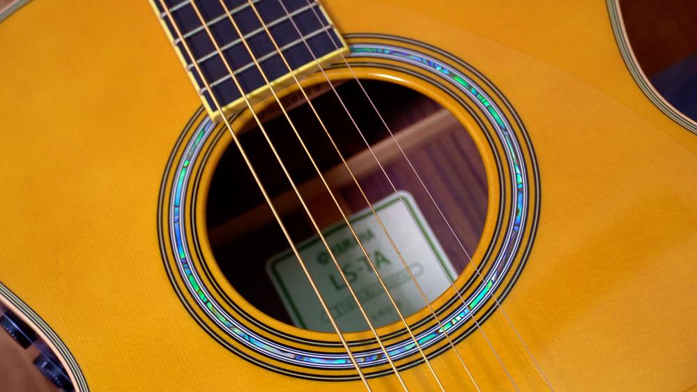Closeup of guitar.
