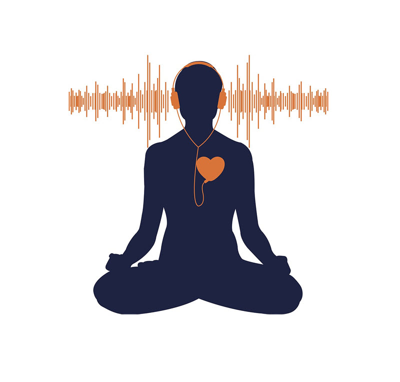 Graphic of a silhouette of a person sitting in a lotus position with a heart shaped mp3 player on their check leading up to wired headphones and a soundwave graphic in background.