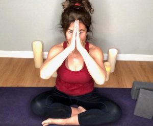 Author Shelly Peiken in a yoga pose.