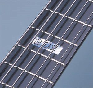 Close up of an electric bass fingerboard.