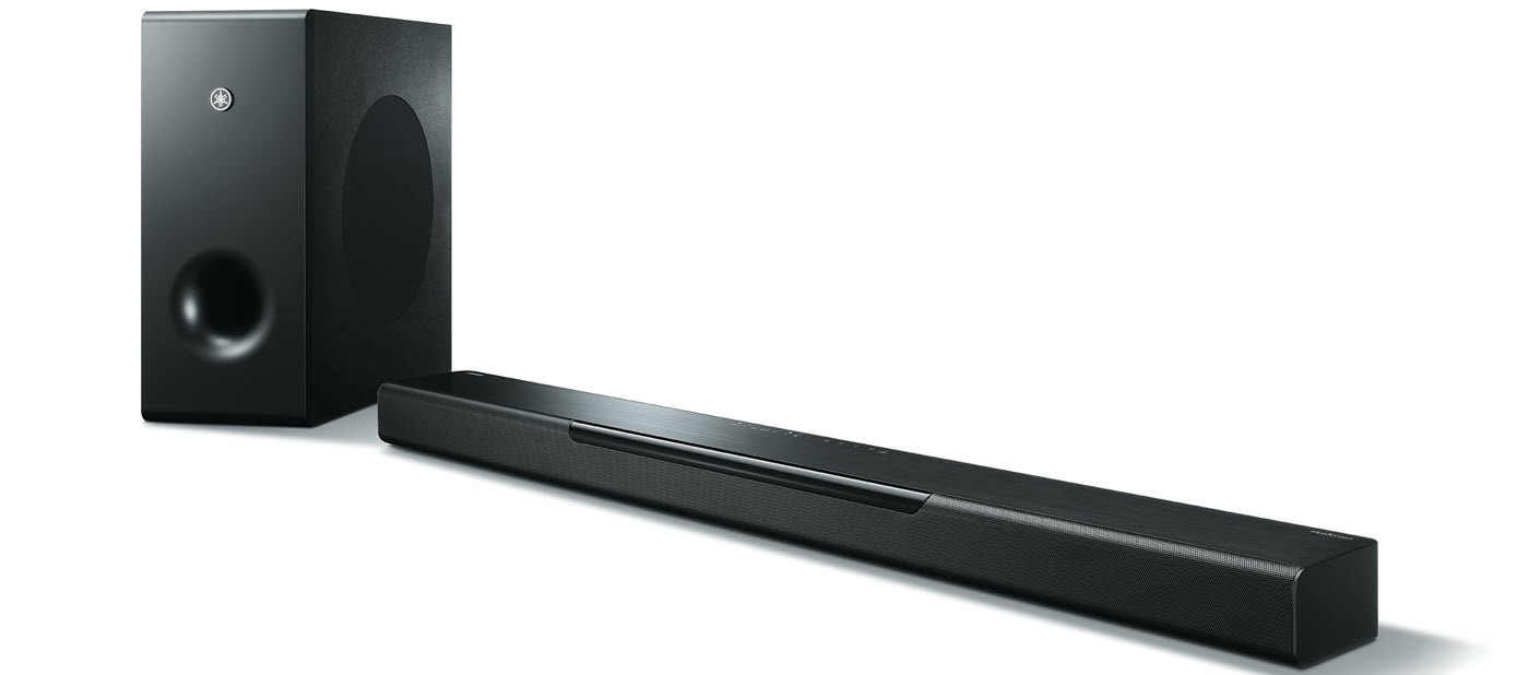 Long thin horizontal and short rectangular audio speakers.