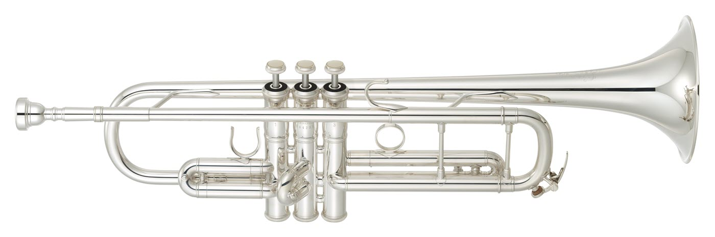 Close-up of a modern trumpet seen in profile.
