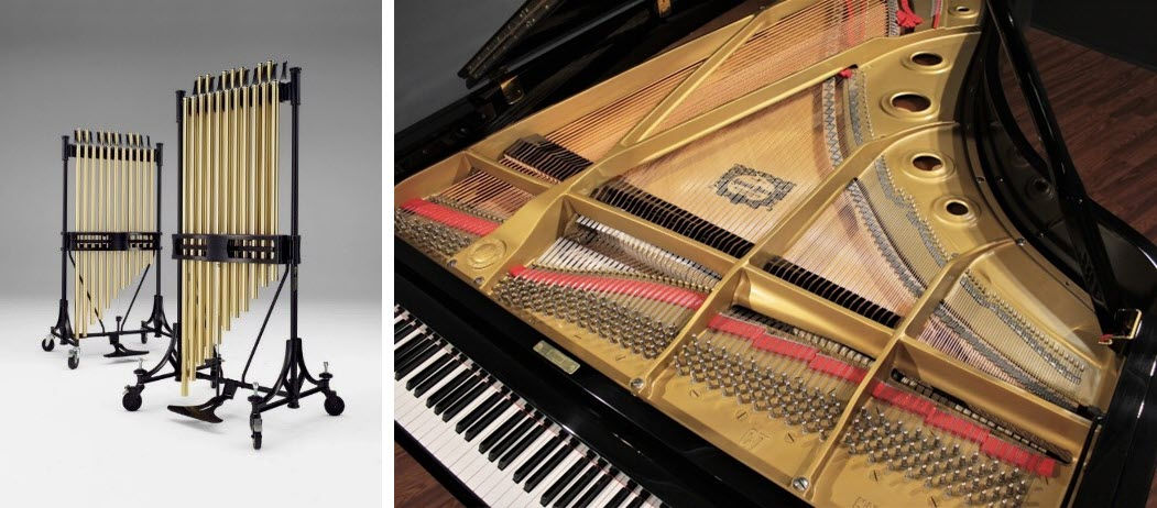 Two pictures of instruments. On left, a photo of two sets of tubular bells and on the right, the view of the strings of a grand piano as viewed from above.