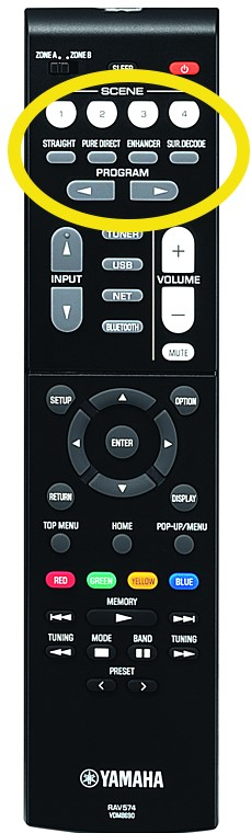 Closeup of the remote control with the specific buttons circled.