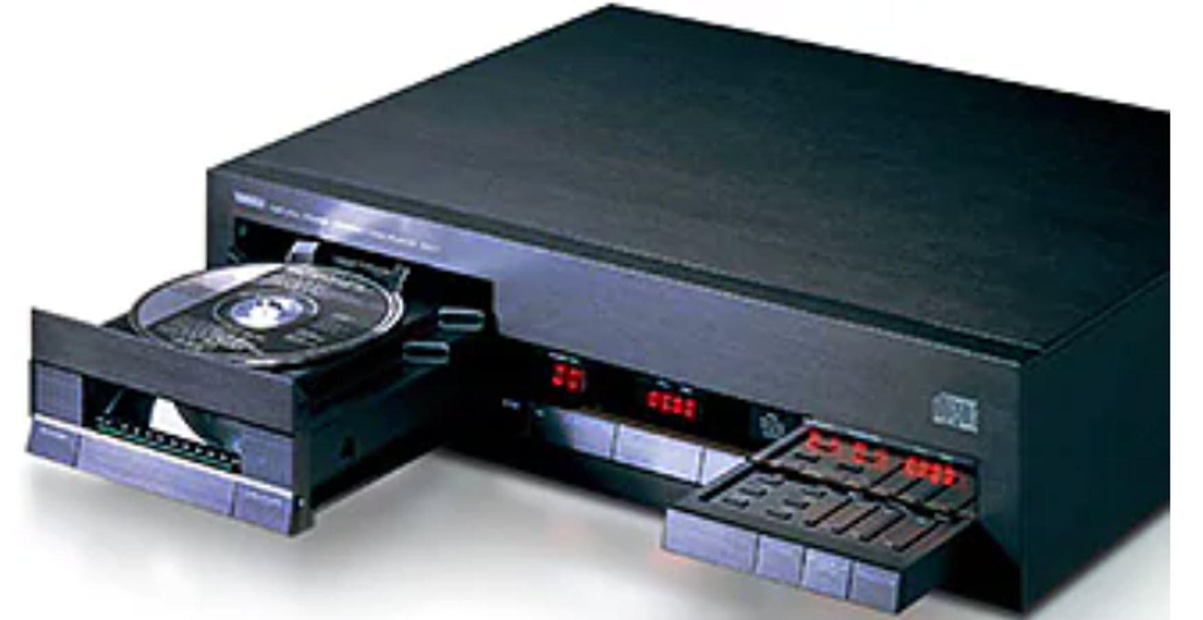 Closeup of CD player with drawer open.