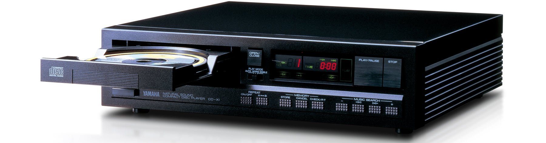 View of CD player with drawer open.