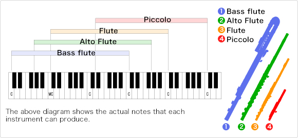Graphic illustrating the range of a picolo versus a flute.