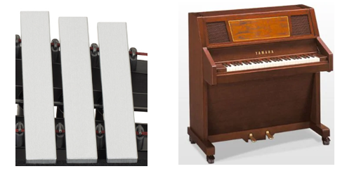 Side-by-side closeup of vibraphone bars on left and a piano looking instrument on right.