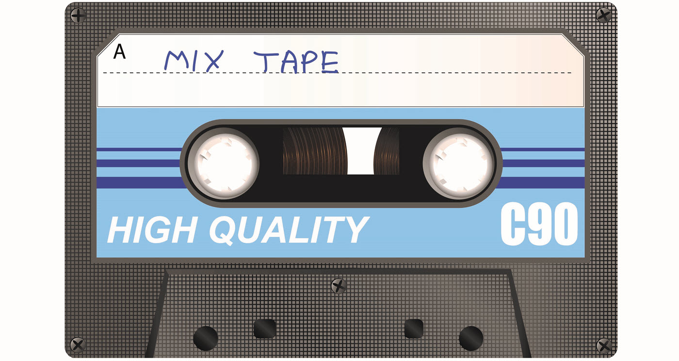 """Audio cassette with a label handwritten with the words """"mix tape""""."""