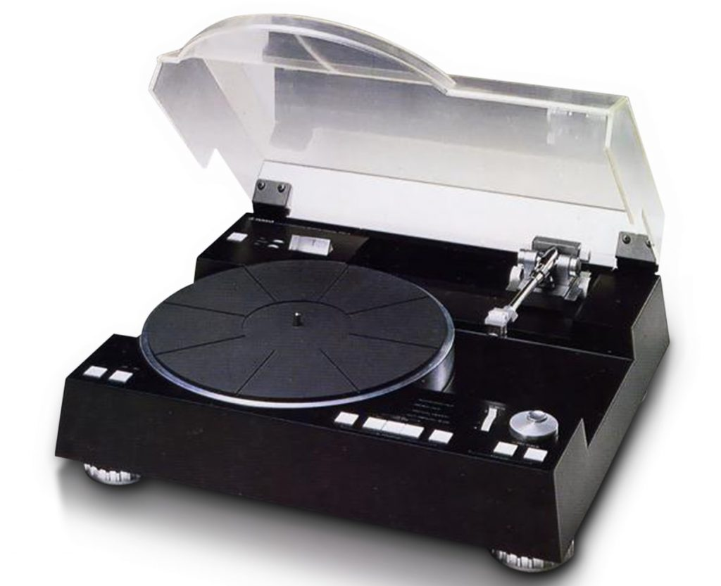 Turntable with lid open.