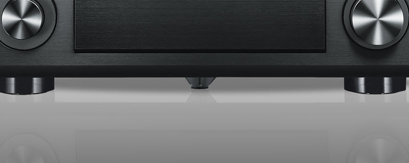 View of front of AV receiver with fifth foot visible on bottom center.