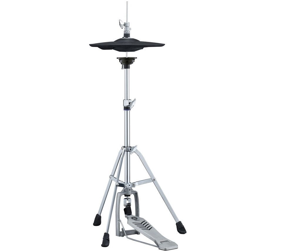 Image of highhat stand with hi-hat installed.