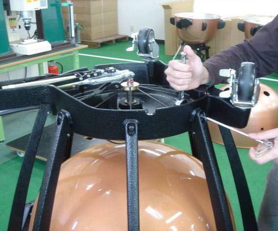 Framework being built onto timpani bowl.