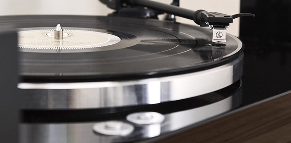 Turntable playing a record.