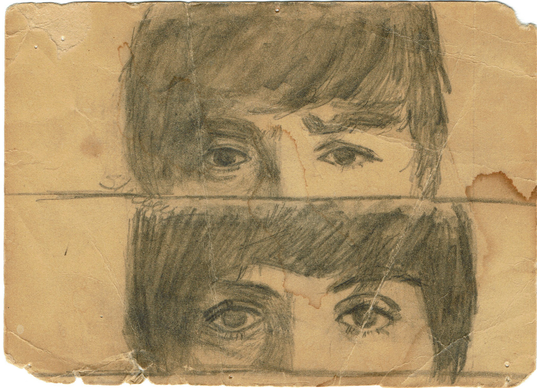 Sketch of two faces with only the view of the top half of each.