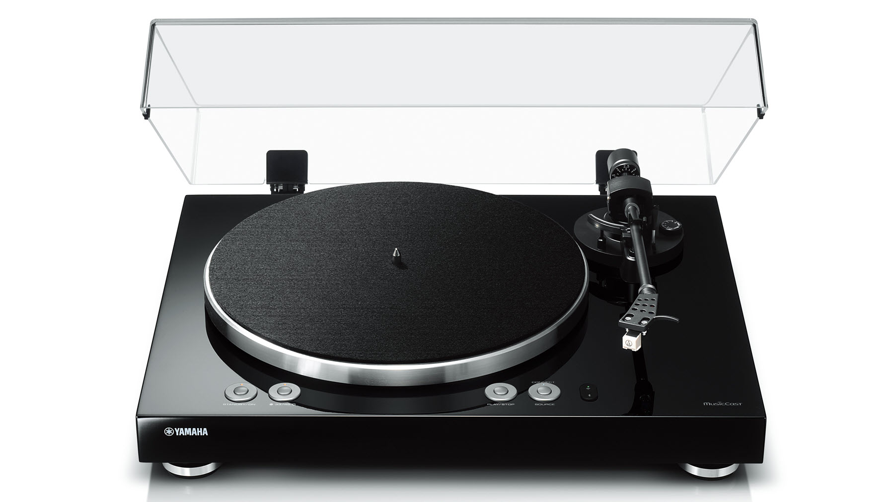 Modern turntable with clear lid open.