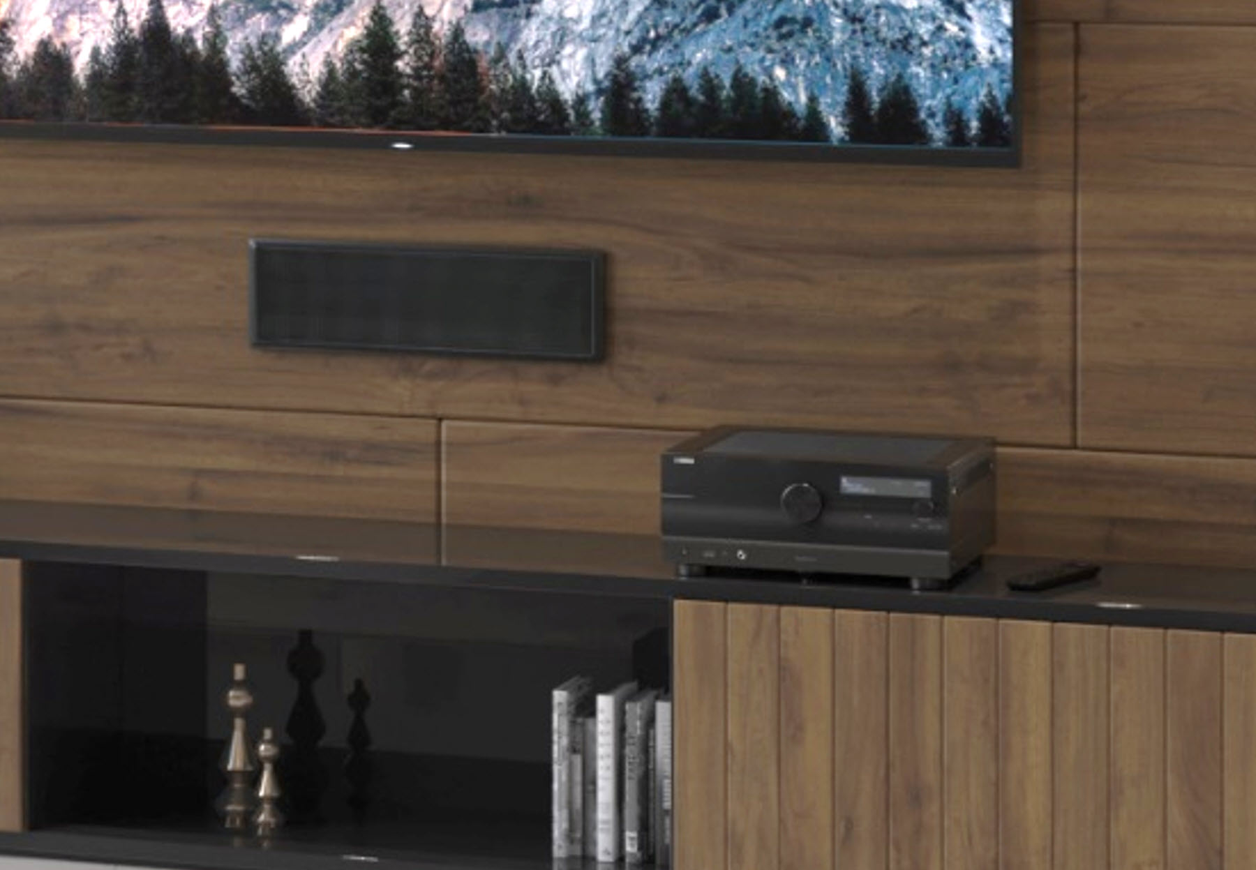 View of unit on shelf below flat screen TV.