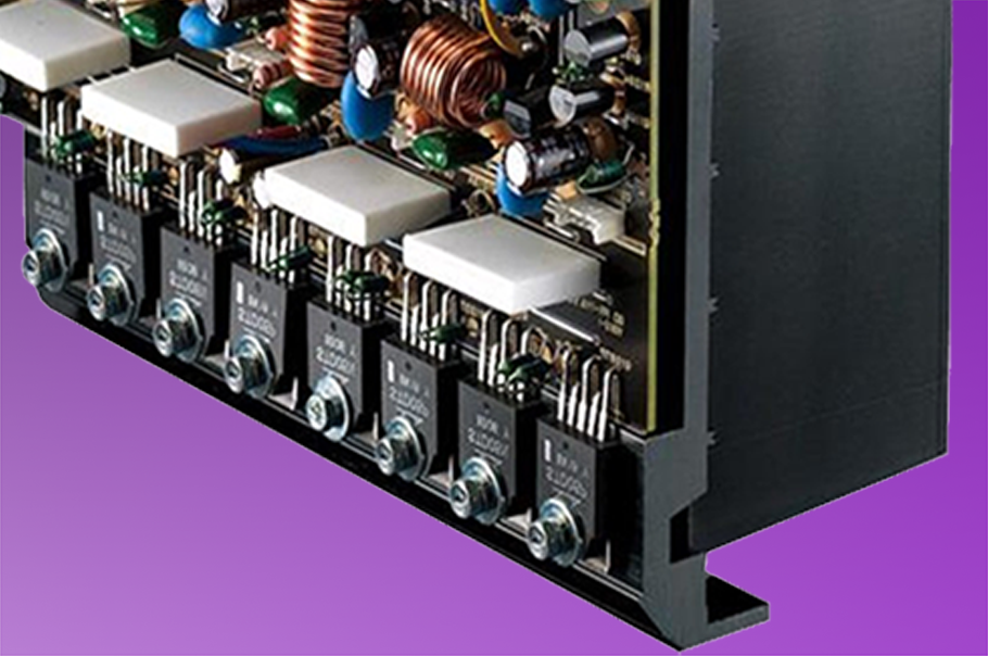 Closeup of inner workings of an AV receiver.
