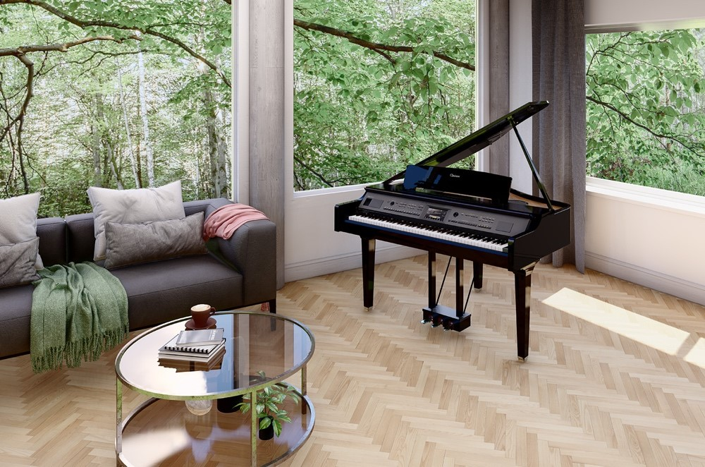 Piano in a living room.