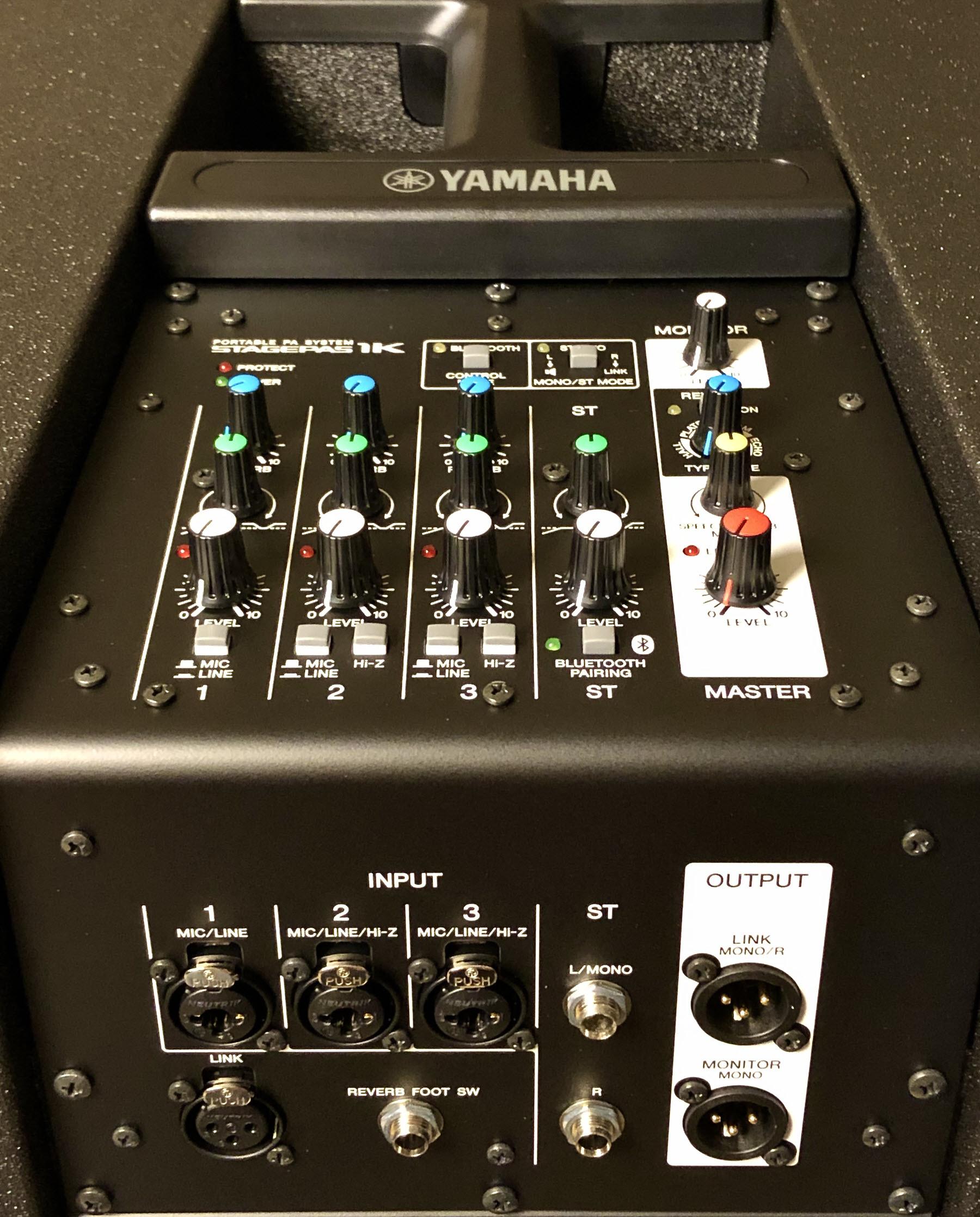Closeup of mixer controls.