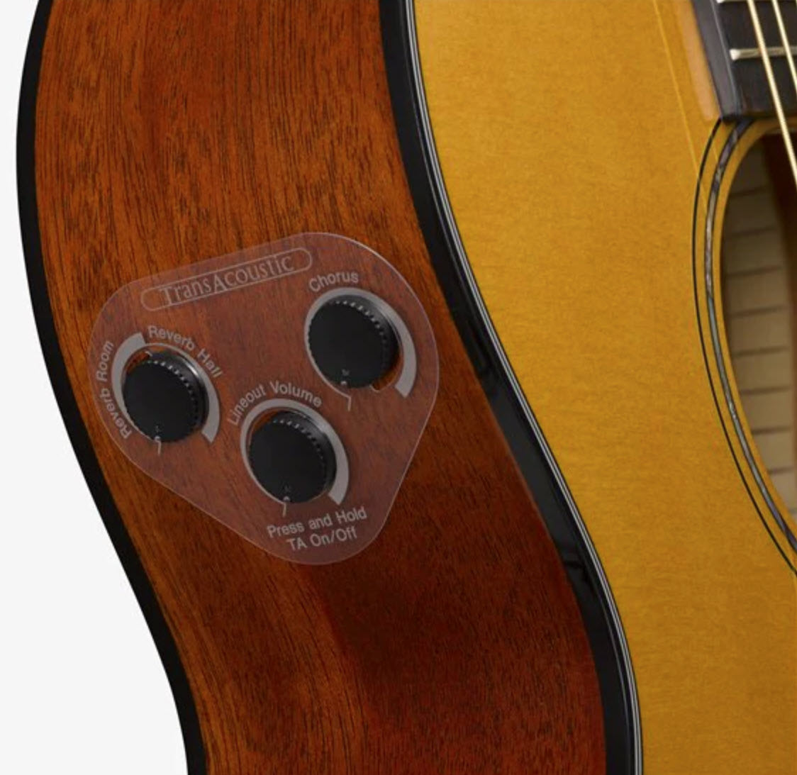 Closeup of three knobs on the side panel of an acoustic guitar.