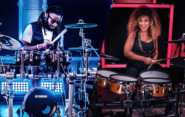 Collage of two images with a man playing an electronic drum kit and a woman playing an electronic drum kit.
