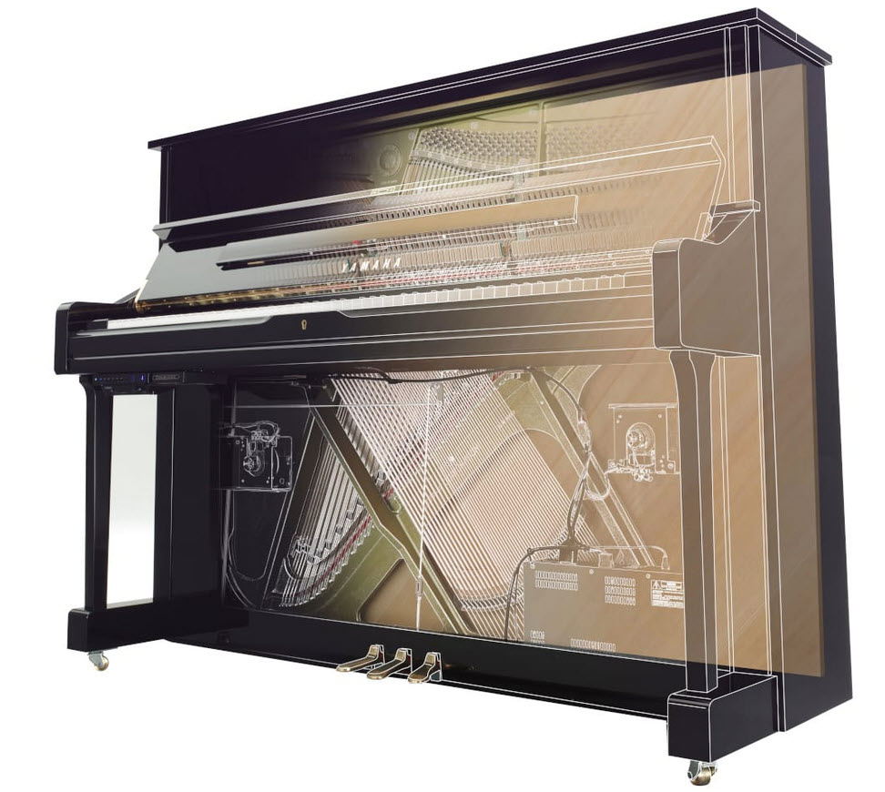 Diagram showing inside a hybrid upright piano and the internal electronics.
