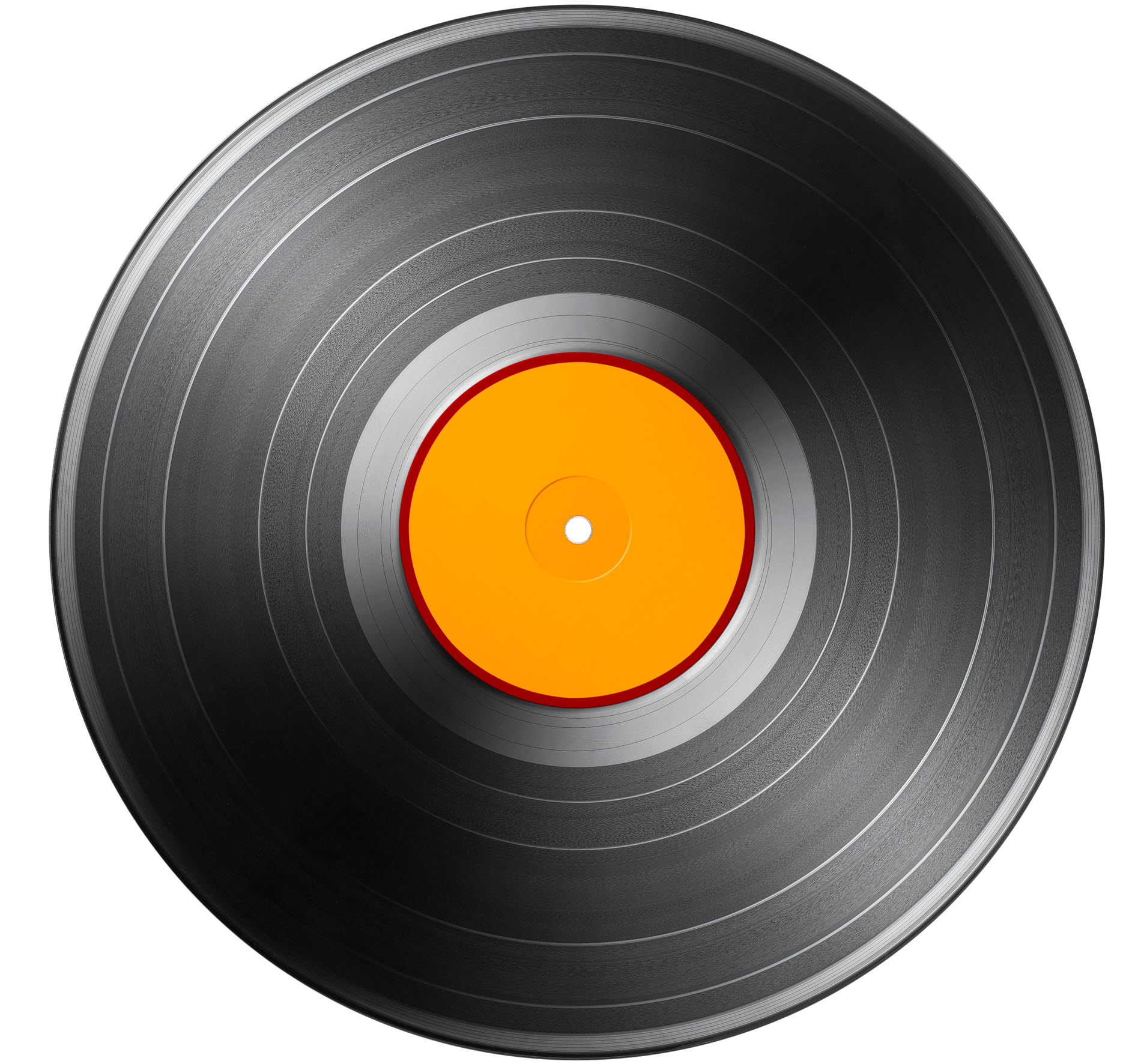 View of vinyl album without printing on the label.