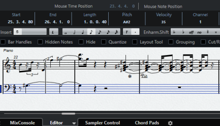 Screenshot of music annotation on screen.